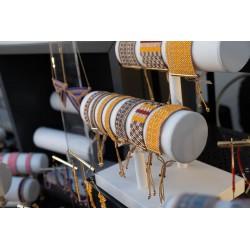Collection Bombay Brun, Jaune safran, Rouge bordeaux et Or 2 OPEN TO THE BEAUTIFUL Bijoux de créateur Artisan d'Art Paris