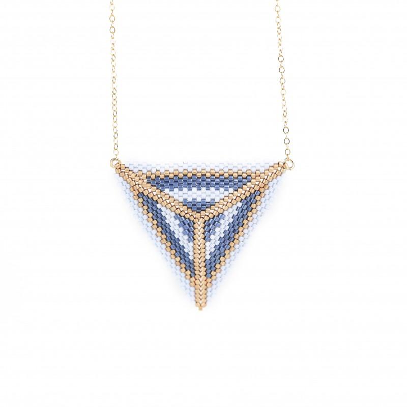 Collier ras du cou triangle Paris Bleu jean, bleu ciel et or, OPEN TO THE BEAUTIFUL