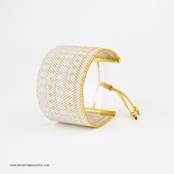 Bracelet Manchette Bleu ciel Or seul OPEN TO THE BEAUTIFUL Bijoux de créateur Artisan d'Art Paris