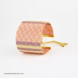 Bracelet Manchette Rose Parme Or seul OPEN TO THE BEAUTIFUL Bijoux de créateur Artisan d'Art Paris