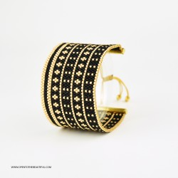Bracelet Manchette Noir Or seul OPEN TO THE BEAUTIFUL Bijoux de créateur Artisan d'Art Paris