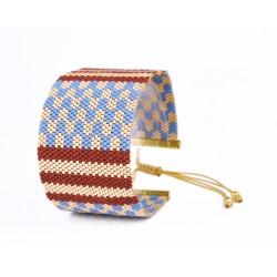 Bracelet Manchette Bordeaux Bleu et Or seul OPEN TO THE BEAUTIFUL Bijoux de créateur Artisan d'Art Paris