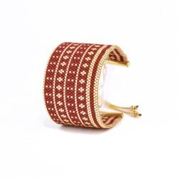 Bracelet Manchette Bordeaux et Or seul OPEN TO THE BEAUTIFUL Bijoux de créateur Artisan d'Art Paris